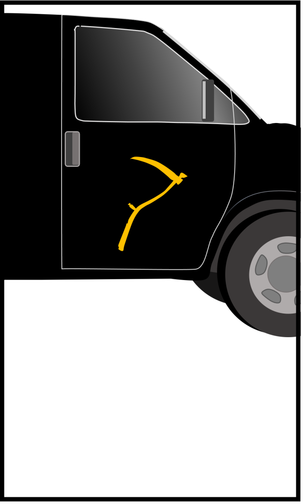 Image of a balck van with a gold logo in the form of a scythe.